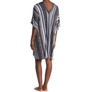 Josie Knit V-Neck Cold Shoulder Sleep Tunic - Lg